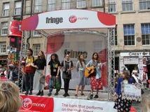 De uitvoerders in Edinburgh omzomen Festival 2015 stock foto's