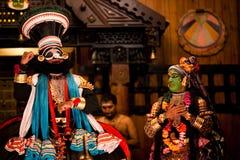 De uitvoerders van Kathakali stock fotografie