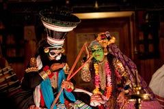 De uitvoerders van Kathakali stock afbeelding
