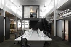 De uitvoerende moderne lege ruimte van de bedrijfsbureauconferentie met luchtdakramen en industriële accenten Royalty-vrije Stock Afbeeldingen