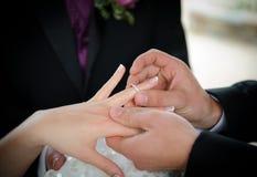 De uitwisseling van trouwringen Stock Foto