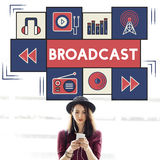 De uitzending deelt de Verbindingsconcept mee van het Muziekpictogram royalty-vrije stock fotografie