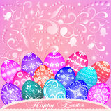 De um cartão em ovos da páscoa e em ornamento ilustração stock
