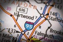 95 de um estado a outro em Virgínia no mapa Foto de Stock Royalty Free