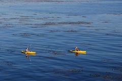De uma família em kayaking Imagens de Stock