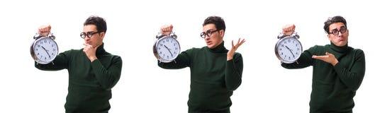 De unga pengarna för nerd med den jätte- klockan som isoleras på vit royaltyfria bilder