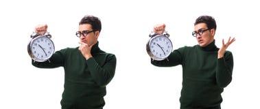 De unga pengarna för nerd med den jätte- klockan som isoleras på vit arkivfoton