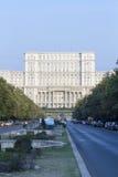 De Unie Boulevard en het Paleis van het Parlement van Boekarest, Roemenië Royalty-vrije Stock Fotografie