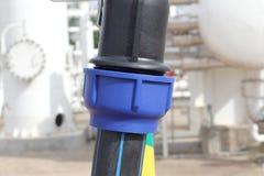 De Unie voor sluit HDPE pijp aan Royalty-vrije Stock Foto