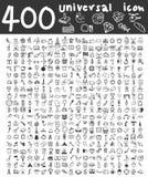 400 de universele pictogrammen overhandigen getrokken lijnkunst leuke kunstillustratie Stock Foto's