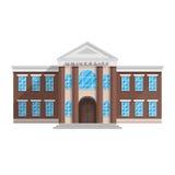 De universitaire bouw in vlakke die stijl op witte achtergrond wordt geïsoleerd stock illustratie
