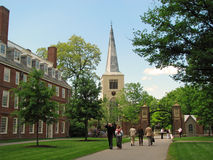 De universitaire campus van Harvard in Cambridge Stock Afbeeldingen