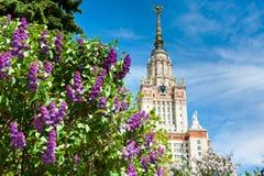 De Universiteit van de Staat van Lomonosovmoskou, Moskou, Rusland stock foto