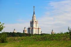 De Universiteit van de Staat van Moskou die na Lomonosov wordt genoemd. MSU. MGU. Royalty-vrije Stock Foto