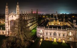 De Universiteit van de koning `s, Cambridge stock afbeeldingen