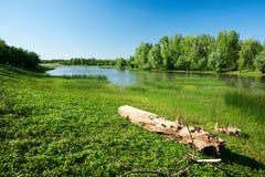 De Ural-rivier kazachstan Gebied westen-Kazachstan stock foto