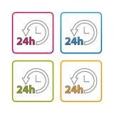 24 de urendienst - Overzicht Gestileerd Pictogram - Editable-Slag - Kleurrijke VectordieIllustratie - op Witte Achtergrond wordt  vector illustratie
