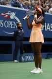 De US Open 2017 kampioen Sloane Stephens van Verenigde Staten viert overwinning na haar definitieve gelijke tegen Madison Keys royalty-vrije stock afbeelding