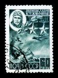 De USSR Rusland toont de Held van Sovjetunie de loods van overzeese vliegtuigenluitenant kolonel B A Safonov 1915-1942, circa 194 Stock Foto's