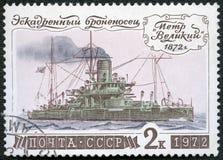De USSR - 1972: toont Slagschip Peter Grote 1872, reeks Geschiedenis van Russische Vloot royalty-vrije stock foto's