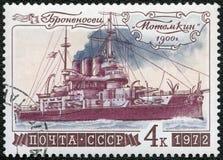 De USSR - 1972: toont Slagschip Potemkin, reeks Geschiedenis van Russische Vloot stock fotografie