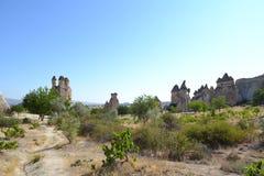 De utsmyckade champinjonhusen i den Cappadocia regionen Arkivfoton