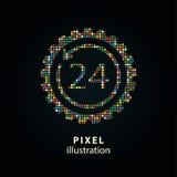 de 24 uurdienst - pixelillustratie Royalty-vrije Stock Foto