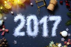 De víspera del arte 2017 Felices Año Nuevo; Fondo de Patry Fotografía de archivo