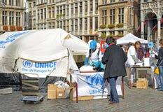 De V.N.-Dag op Grand Place stock afbeelding