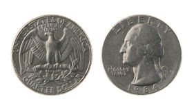 De V.S. Één - kwartMuntstuk dat op Wit wordt geïsoleerdd Stock Afbeelding