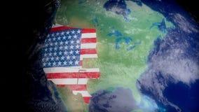 De V.S. brengen contouren van ruimte in kaart verwant met de aardrijkskunde, de reis, het toerisme of de politiek van de V.S. royalty-vrije illustratie
