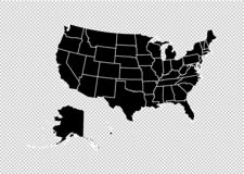 De V.S. brengen - hoog gedetailleerde Zwarte kaart met provincies/gebieden/staten van verenigde staat van Amerika in kaart ons br stock illustratie