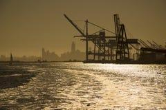 De V.S. - Californië - San Francisco - Kunstmatig panorama van weefgetouw silhoue Stock Afbeeldingen