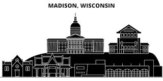 De V.S., Colorado, Aurora City-horizon van de architectuur de vectorstad, reiscityscape met oriëntatiepunten, gebouwen, isoleerde stock illustratie