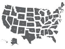 De V.S. of de kaart van Verenigde Staten in grijs Royalty-vrije Stock Foto's