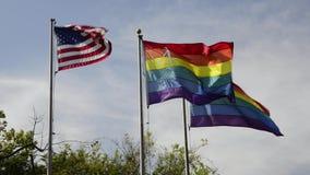 De V.S. en vrolijke vlaggen stock videobeelden