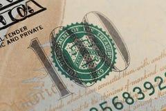 De V.S. honderd Dollarselementen, super macro, sluiten omhoog foto stock foto's