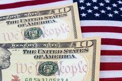 De V.S. innen de Amerikaanse rijkdom van het vlagpatriottisme Stock Foto