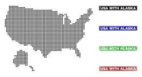 De V.S. met de Kaart van Alaska in Dot Style met Grunge noemen Zegels vector illustratie