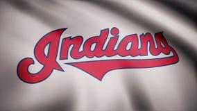 De V.S. - NEW YORK, 12 Augustus 2018: Vlag van Cleveland Indians, Amerikaans professioneel honkbalteam - lijn Golvende Vlag stock fotografie