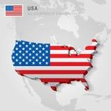 De V.S. op grijze kaart worden getrokken die Royalty-vrije Stock Afbeeldingen