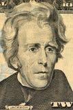 De V.S. President Andrew Jackson gezicht op de macro van de twintig dollarrekening, het geldclose-up van Verenigde Staten stock foto