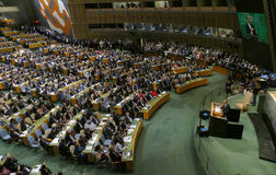 De V.S. President Barack Obama houden een toespraak, de Algemene Vergadering van de Verenigde Naties royalty-vrije stock foto