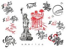 De V.S. Reeks elementen voor ontwerp Las Vegas New York Oriëntatiepuntschetsen Standbeeld van Vrijheid & de Zonsondergang van de  stock illustratie