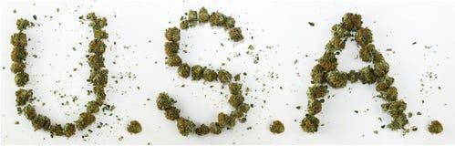 De V.S. spelden met Marihuana Royalty-vrije Stock Foto's