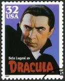 De V.S. -1997: toont portret van Bela Lugosi 1899-1980 als karakter ` Dracula `, Monsters van de reeks de Klassieke Film Stock Foto's