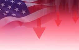 De V.S. Van de de effectenbeurscrisis van Amerika rode de prijspijl onderaan grafiekdaling stock fotografie