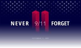 De 9/11 V.S. vergeten 11 nooit September, 2001 Vector conceptuele illu Vector Illustratie