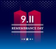 De 9/11 V.S. vergeten 11 nooit September, 2001 Vector conceptuele illu Royalty-vrije Illustratie