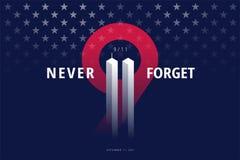 De 9/11 V.S. vergeten 11 nooit September, 2001 Vector conceptuele post stock illustratie